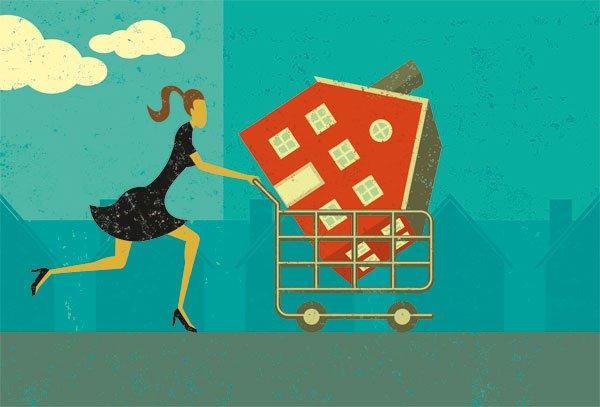 dibujo de una mujer con una casa en el carrito de la compra