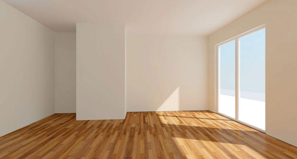 piso vacío con suelo de parquet